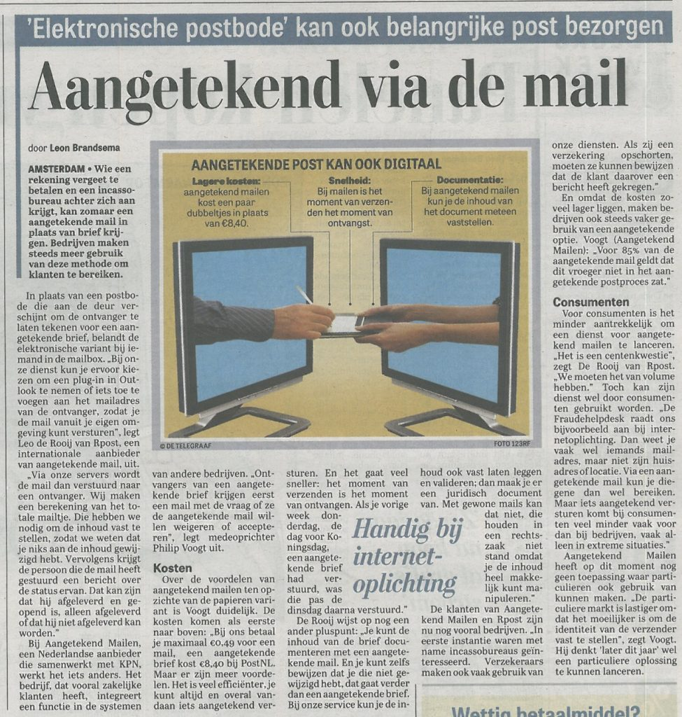 Telegraaf Aangetekend Mailen